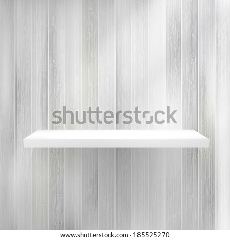 Blank white wooden bookshelf. + EPS10 vector file - stock vector