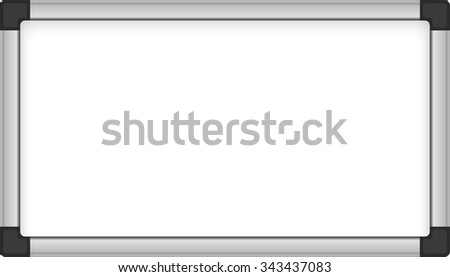 Blank whiteboard isolated on white.