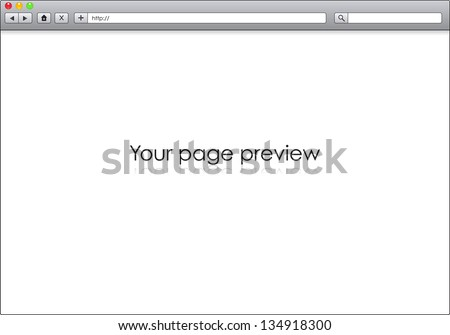 Blank window of internet browser, template illustration - stock vector