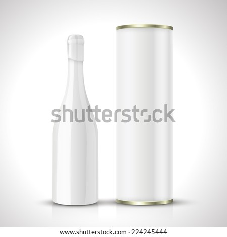blank wine bottles with package isolated on white - stock vector