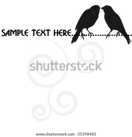 blank with silhouette two birds - stock vector