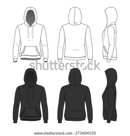 Blank Women's hoodies in front, back and side views.