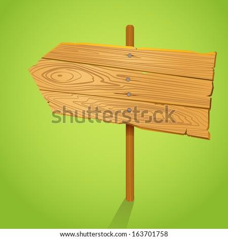 Blank Wood arrow informer illustration. Template for a text - stock vector
