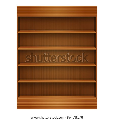 blank Wooden book Shelf - stock vector