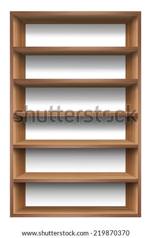 Blank wooden bookshelf. vector - stock vector