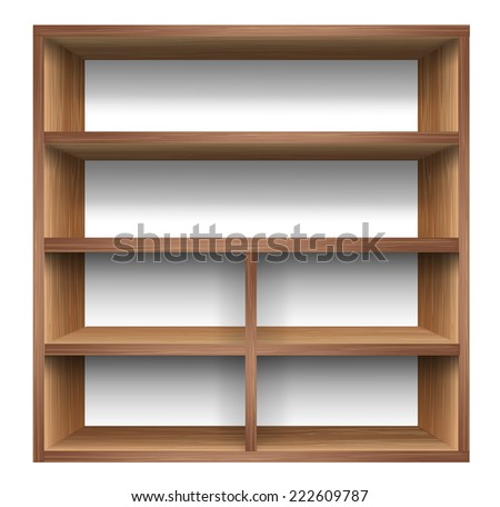 Blank wooden bookshelf. vector