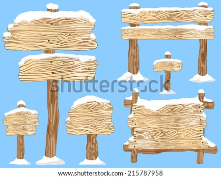 Blank wooden signs and notice boards covered in snow  - stock vector