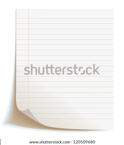 Blank worksheet exercise book. Isolated on white background, vector illustration - stock vector