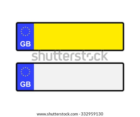 Blank yellow and white UK number plates with EU symbol - stock vector