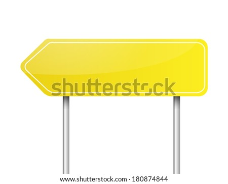 Blank yellow arrow road sign vector