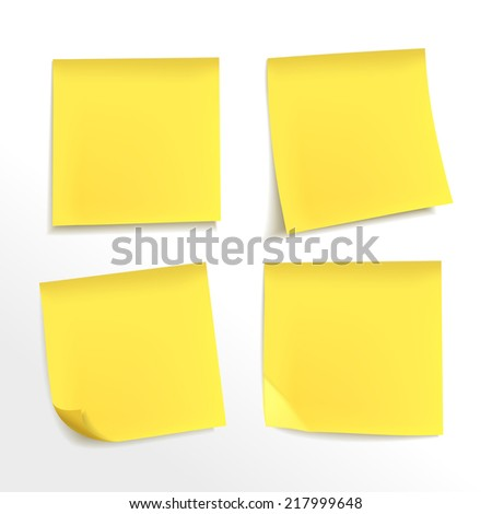 blank yellow note paper set on white background - stock vector