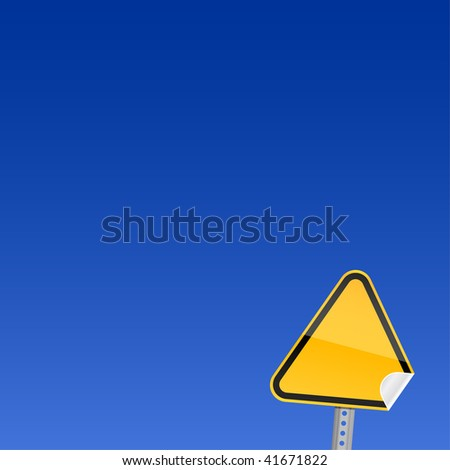Blank yellow road warning sign on sky background with curved corner - stock vector