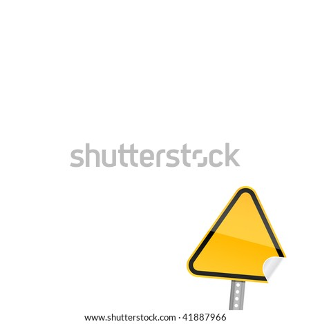 Blank yellow road warning sign on white background with curved corner - stock vector