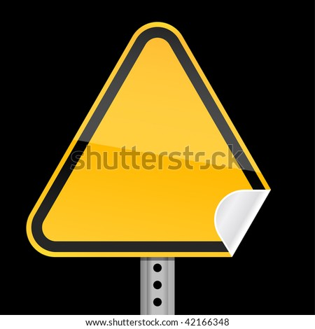 Blank yellow road warning sign with curved corner on black background - stock vector