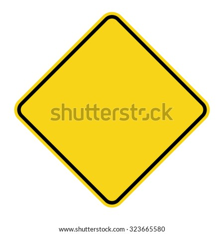 Blank Yellow Sign. Empty square warning symbol isolated on white background. Priority road icon. Traffic sign. Stock Vector Illustration - stock vector