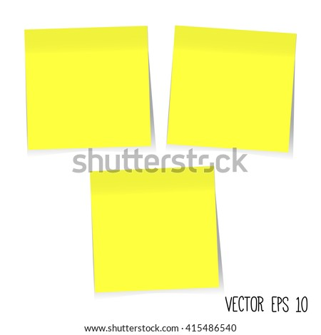 Blank Yellow Sticky Notes. Vector EPS10 - stock vector