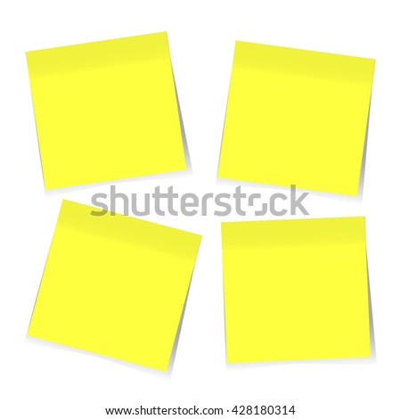 Blank Yellow Sticky Notes. Vector, EPS10 - stock vector
