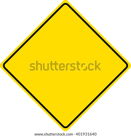 Blank Yellow Traffic Sign - Copy Space - stock vector