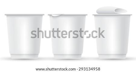 Blank Yogurt Plastic Cup : Vector Illustration - stock vector