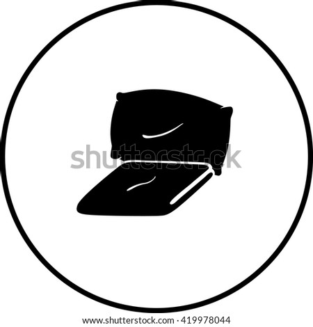 blanket and pillow symbol - stock vector
