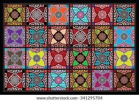 Blended Joyful Colors Arabesque Mosaic Tiles - stock vector