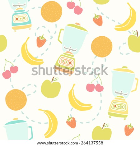 Blender and fruits pattern. Vector hand drawn seamless pattern - stock vector