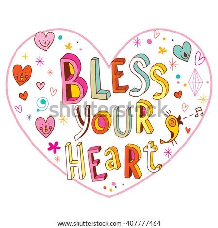 Bless your heart love design - stock vector