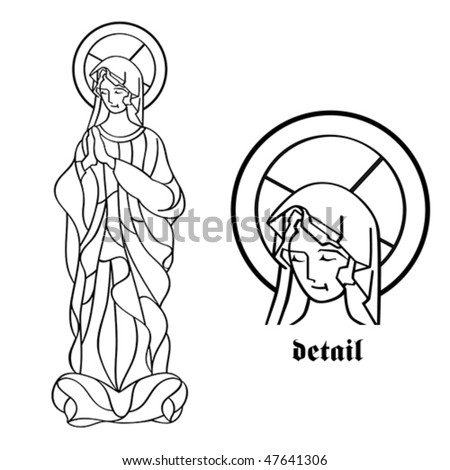 Blessed Virgin Mary in black and white contour drawing - stock vector