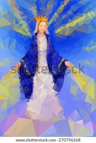 Blessed Virgin Mary Queen in triangle style - stock vector