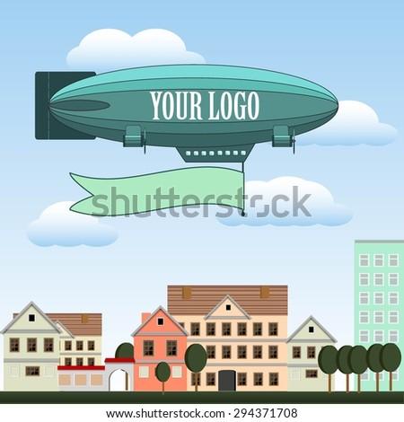 blimp flying over the city vector illustration - stock vector