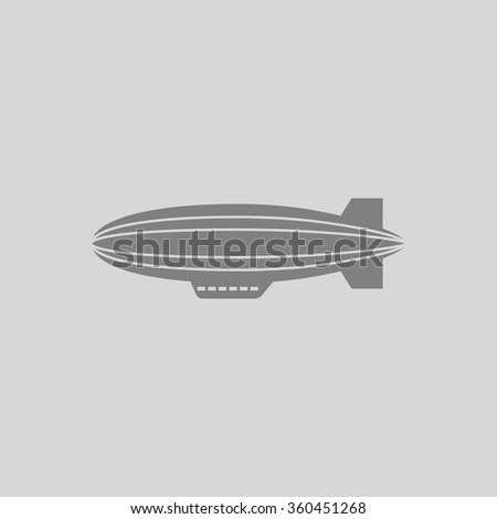 blimp - Grey flat icon on gray background - stock vector