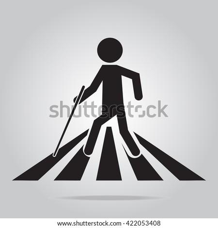 Blind man pedestrian crossing sign,vector illustration - stock vector