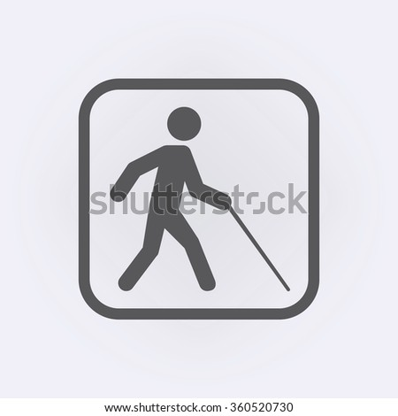 Blind man walk icon . Vector illustration - stock vector