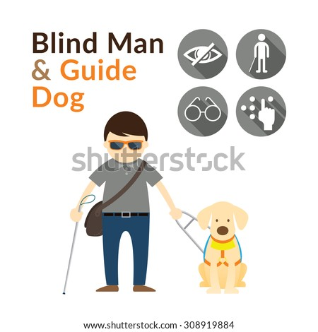 Blind Man with Guide Dog, Seeing Eye Dog, Illustrate and Icons - stock vector