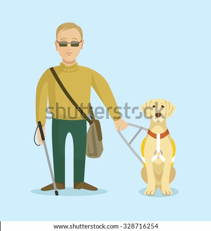 Blind man with guide dog. Vector flat illustration - stock vector