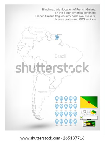 Blind Map Location French Guiana On Stock Vector - South america french guiana map