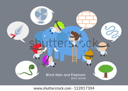 blind men and elephant. vector - stock vector