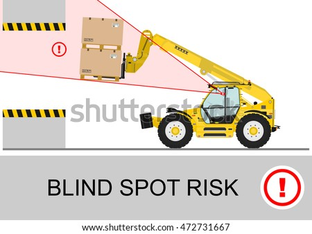 Blind spot risk. Non rotating telescopic handler (forklift) safety. Flat vector