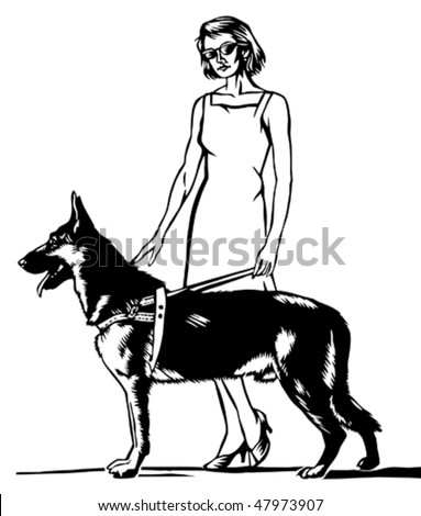 blind woman with assistance dog - stock vector