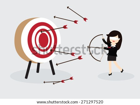 Blindfold business woman try to hit a target - stock vector
