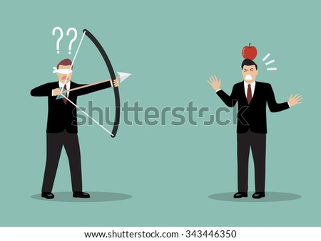 Blindfold businessman aiming to shoot at apple on another man's head. Business risk concept - stock vector