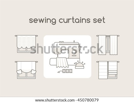Blinds Sewing Vector Set French Curtains Stock Vector