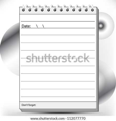 Block notes page lined in black and white shades - stock vector