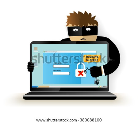 Blocking a hacker attack.Hacker breaks into computer. Cyber attacker trying to hack computer. Vector illustration. Isolated on white background. - stock vector