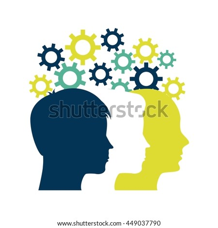 Blog and Internet concept represented by human head and gears design. Colorfull and Flat illustration.