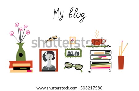 Blog banner for the photographer or writer - girly cute design, vector illlustration