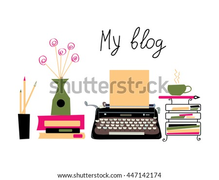 Blog banner with typing machine and books with nice design. Vector graphic illustration - stock vector