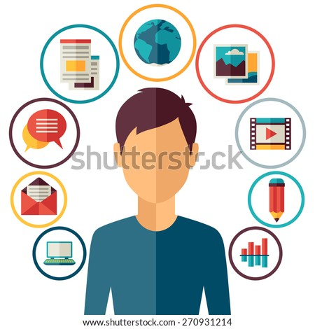 Blog concept illustration in flat design style. - stock vector
