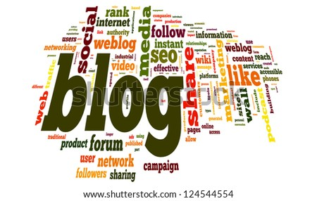 Blog concept in word tag cloud on white background, vector version - stock vector