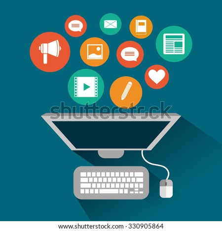 Blog concept with technology icons design, vector illustration 10 eps graphic. - stock vector